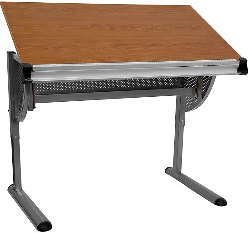 Flash Furniture NAN-JN-2433-GG Adjustable Drawing and Drafting Table with Pewter Metallic Frame