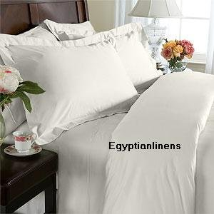 Solid Ivory Queen Size Duvet Cover Set With Matching Bed Skirt And Pillow Shams 550 Thread Count 100% Egyptian Cotton front-276728
