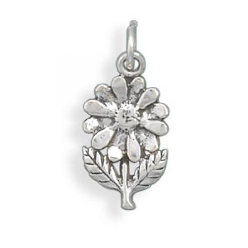 MMA Silver - Flower with Stem/Leaves Charm