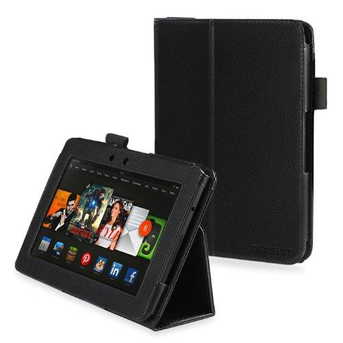 【MiniSuit】 Amazon Kindle Fire HD 7 2013 良質PUレザー クリップスタイル Classicシリーズ スタンド ケース カバー ハンドストラップ付き【日本正規輸入代理店品】 ブラック