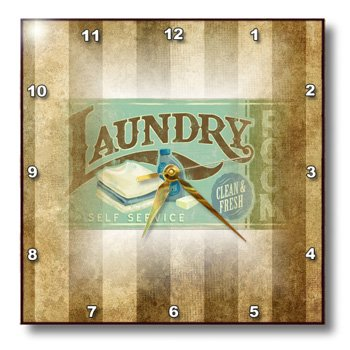 Dpp_119627_2 Florene Numbers Symbols And Sayings - Vintage Laundry Room Sign On Grunge Stripes - Wall Clocks - 13X13 Wall Clock back-380976