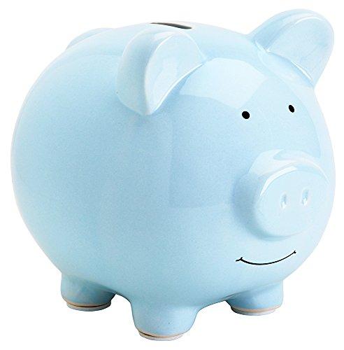 Pearhead Ceramic Piggy Bank, Blue