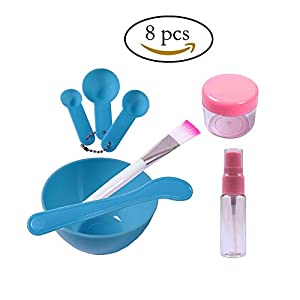 Teenitor Lady Facial Care Mask Facemask Mixing Tool Sets, Bowl Stick Brush Gauge 8 in 1 Set Blue [Fast Shipping By FBA]