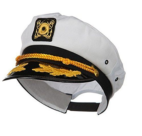 Sailor Ship Yacht Boat Captain Hat Navy Marines Admiral Cap Hat White Gold 23400 (Admiral Cap compare prices)