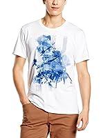 Trussardi Jeans Camiseta Manga Corta (Blanco / Azul)