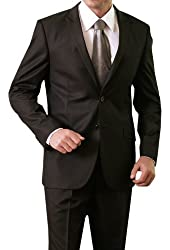Exclusive Mens Two Button Two Piece Shiny Black Slim Fit Suit