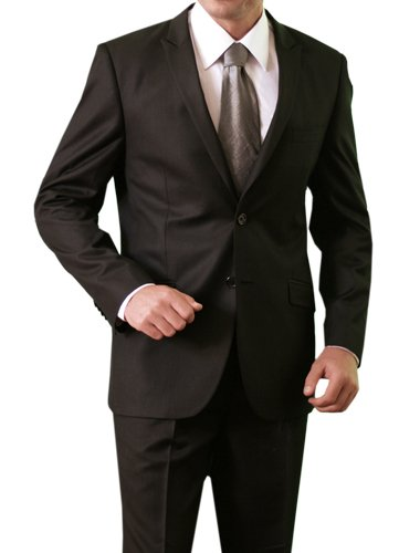 Exclusive Mens Two Button Two Piece Shiny Black Slim Fit Suit