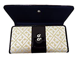 Tommy Hilfiger Continental Wallet Signature Front Flap Clutch (Gold/Brown Big H Logo)