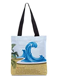Snoogg Vector Summer Background With Waves Designer Poly Canvas Tote Bag - B012FZVLHS