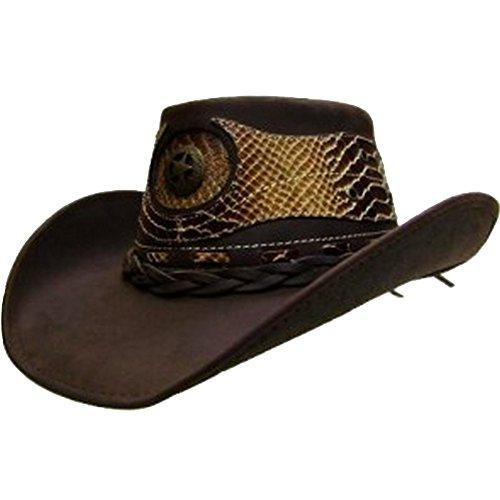 modestone-mens-cowboy-leather-hat-leather-snake-skin-pattern-applique-xl-brown