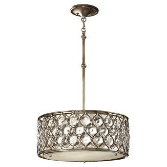 Murray Feiss F2568/3BUS Lucia Collection 3-Light Pendant, Burnished Silver Finish with Beige Fabric Shade with Clear gems