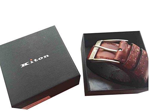 Kiton in argento sterling 925, con fibbia, in pelle, con passante per cintura, realizzata a mano, colore: marrone (750 46/120