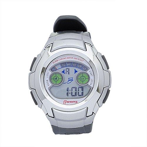 8Years- 1 Stueck Laessig Digitaluhr Armbanduhr Stoppuhr Watch Wasserdicht Grau