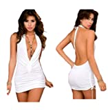 Demarkt® Sexy Deep V-open Lingerie Pajamas Sleepwear Mini Dress
