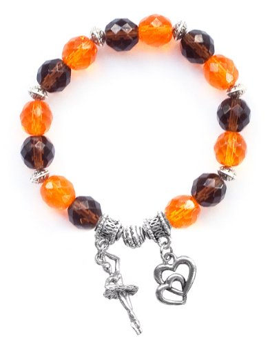 """Ballerina Girl"" Girls Dance Bracelet (Team Colors Orange & Brown)-Large"