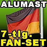 "Aluminium Fahnenmast 6,60 Meter - Aktionsangebot: inkl. 7-tlg. Fan-SET (Gro�e Fahne + Kappe + 2 Spiegel-Fahnen + Schminkset + 2 x Autofahnen)von ""Albatros"""