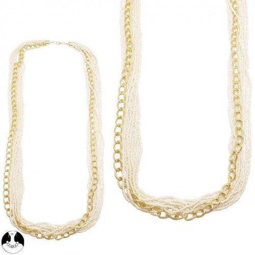 sg paris women necklace long necklace 9 rows 90 cm gold ivory glass