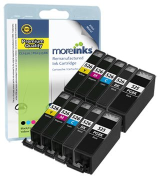 PGI-525BK / CLI-526 10 Printer Ink Cartridges for Canon Pixma MG5200 MG5250 MG5350 MG5150 IP4850 MG6150 iP4950 IX6550 iP4800 MX885 MG8150 MG8250 MG8220 MG6250 MG6220 MG6100 IX6250 MX882