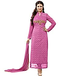 Look N Buy Women Latest Pink Salwar Suit with Dupatta