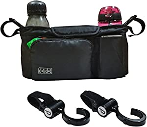 Stroller Organizer PLUS Hooks for Strollers - Stroller Accessories Pack - Use as Car Organizer or Small Diaper Bag - Universal, Fits Most Handlebar of Pram/Baby Buggy Brands Like Britax, Maclaren, Bob, Chicco, etc. and Jogger, Umbrella, Double or Travel System - Two Insulated Cup Holders - Black Console with Roomy Storage - Must-Have for Every Parent - Satisfaction Guaranteed