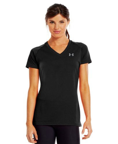 Under Armour Women'S Ua Tech™ Short Sleeve V-Neck Small Black front-919890