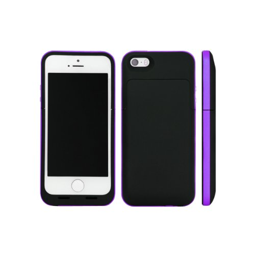 Newnow Apple Iphone 5 2500Mah External Power Bank Rechargeable Spare Backup Extended Battery Charger Pack Case Cover-For Iphone 5 & 5S. Compatible With Ios 7(Black Purple)