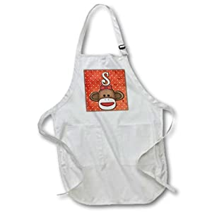 3dRose apr_102822_2 Cute Sock Monkey Girl Initial Letter S-Medium Length Apron with Pouch Pockets, 22 by 24-Inch
