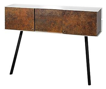 VEJTSBERG Anlehnschrank LS-01-rust, Pulverbeschichtetem Metall, Rostlaminat, weiß, 100 x 26 x 75 cm