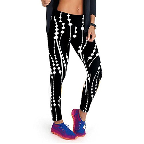 Gillberry High Waist Fitness Yoga Sport Pants Printed Stretch Points Leggings (S, White)