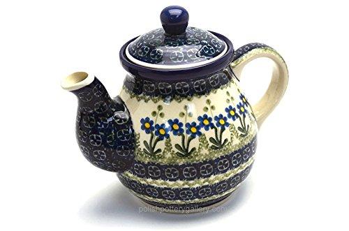 Polish Pottery Gooseneck Teapot - 20 oz. - Blue Spring Daisy (20 Oz Gooseneck Teapot compare prices)
