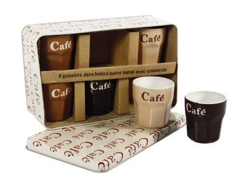 Delys-By-Verceral-509389-Lot-de-6-Gobelets--Caf-dans-une-Bote-CramiqueMtal-CrmeRoseChocolat