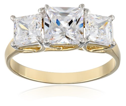 10k Yellow Gold 3-Stone Square Ring Made with Swarovski Zirconia (2 1/2 cttw), Size 7