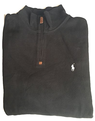 Polo Ralph Lauren Men's Big & Tall Half-zip French-ribbed Pullover Polo Black 3LT - 1