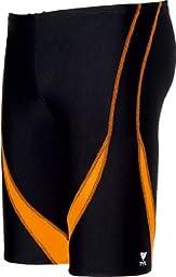 TYR Alliance Splice Jammer Swimsuit, Black/Orange, Size 34