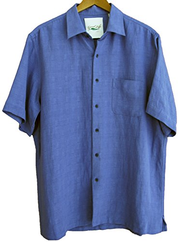 Mens silk linen blend camp shirt casual solid 3 colors for Mens silk shirts amazon