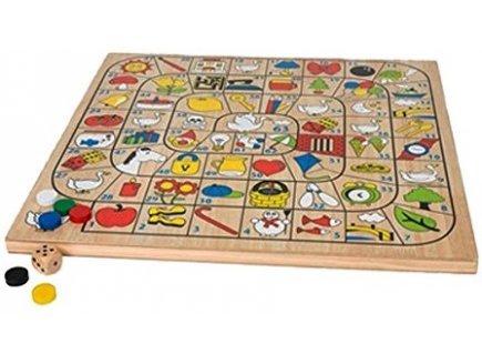 Jeu de l'oie geant en bois (plateau : 50 x 50 cm) - jeu de societe