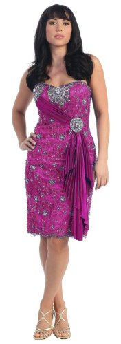 Strapless Lace Rhinestone Prom Formal Short Dress #751 (16, Magenta)