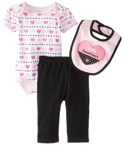 Bon Bebe Baby-Girls Newborn Little Sweetheart Bib Bodysuit And Legging Set, Multi, 6-9 Months front-1077877