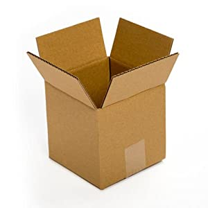 """Pratt PRA0006 Recycled Corrugated Cardboard Single Wall Standard Cube Box with C Flute, 5"""" Length x 5"""" Width x 5"""" Height, (Pack of 25)"""