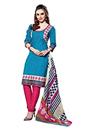 HIFI Ethnicwear Women's Dress Material TURQUOISE_Free Size