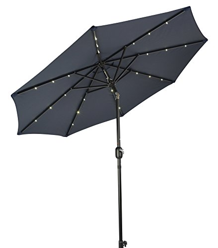 8' Deluxe Solar Powered LED Lighted Patio Umbrella by Trademark Innovations (Blue)