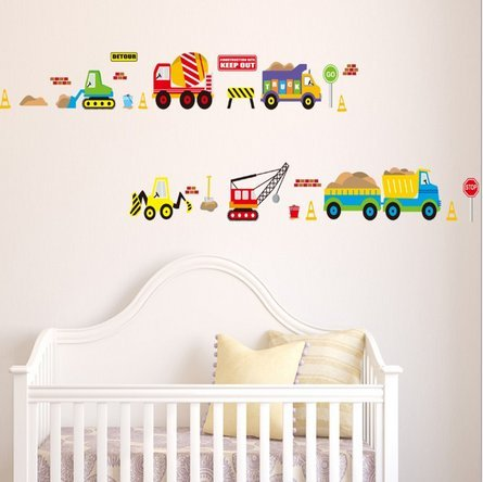 Removable Living Room Television Background Environmental Pvc Wall Stickers Cartoon Car front-781633