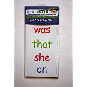 teachSTIX Kindergarten Reuseable Fabric Sight Word Decal Stickers- Set of 52