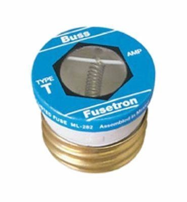 Bussmann T-8BC 8 Amp Type T Time-Delay Dual-Element Edison Base Plug Fuse, 125V UL Listed 1-In Bag