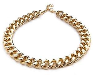 Silvity - 880801-20 - Damen Kunststoff Kette Statement Glieder Halskette Damen Panzerketten-Collier - Gold