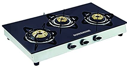 Sunshine Alfa Ss Toughened Glass Gas Cooktop (3 Burner)