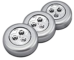 Techno Earth LED Battery-Operated Stick-On Tap Push Light for Night, Closets, Attics, Garages, Car, Sheds, Storage Room, 3 Pack - Silver