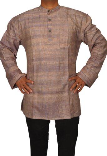 Handmade Casual Indian Khadi Mens Short Kurta Fabric For Winter & Summers Size-4XL