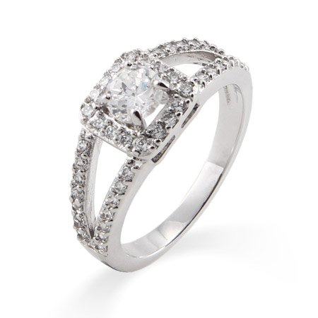 Vintage Style Round Cut CZ Promise Ring with Split Band Size 7 (Sizes 5 6 7 8 9 Available)