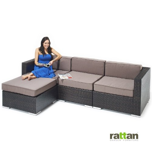 Rattan Corner Sofa Set - Brown Rattan with Linen Cushions - All Weather Garden, Patio and Conservatory Furniture